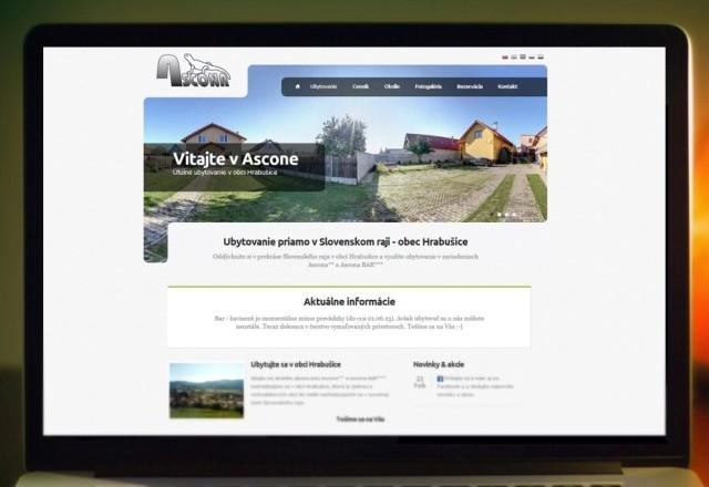 Ubytovanie ASCONA - webstránka ubytovacieho zariadenia