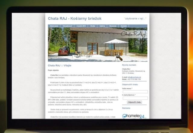 Chata RAJ - webstránka pre ubytovacie zariadenie